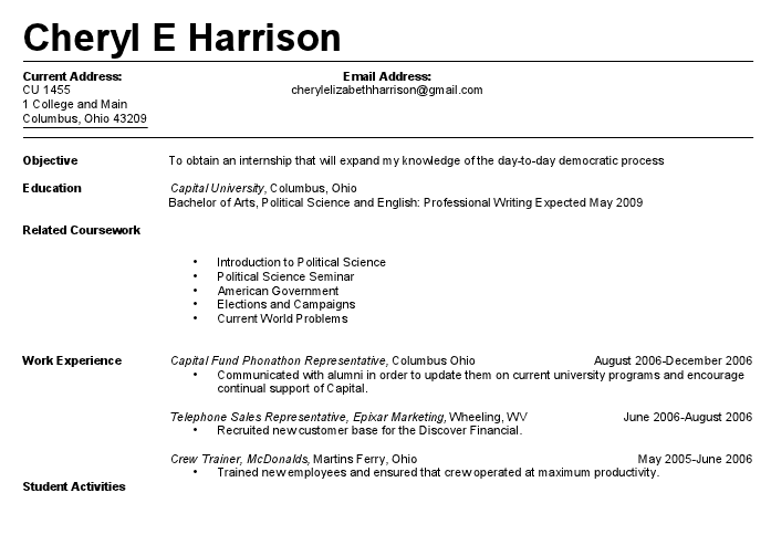 sample resume for first job 2. student job resume examples ...